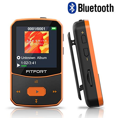 MP3 Player Bluetooth 4.1 Sport - Verlustfreier Sound FM Radio,Sprachaufzeichnung,E-Book und andere Funktionen,Unterstützt bis 128GB SD Karte (Kopfhörer,USB-Kabel im Lieferumfang Enthalten)