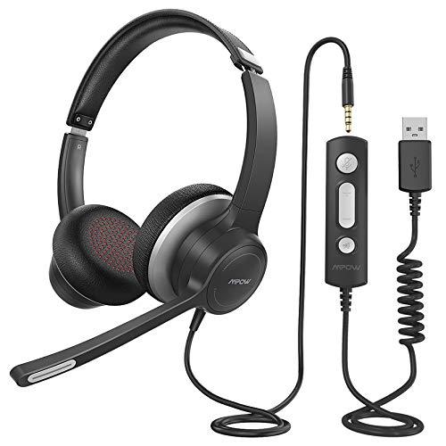 Mpow PC Headset HC6, 3,5mm Klinke Headset Handy,USB Headset mit Noise-Cancelling-Mikrofon, Chat Headset für Skype, Webinar, Homeoffice, Gaming, e-Learning und Musik, Call Control, Ultra Komfort