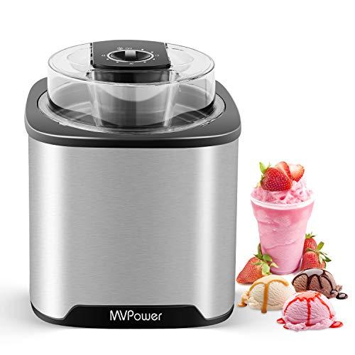 MVPower Eismaschine 2L Speiseeisbereiter, Speiseeismaschine aus Edelstahl mit Digitaler Timer & Deckelöffnung, für Frozen Yoghurt, Sorbet und Eis, inkl. Rezepte & Entnehmbarer Eisbehälter