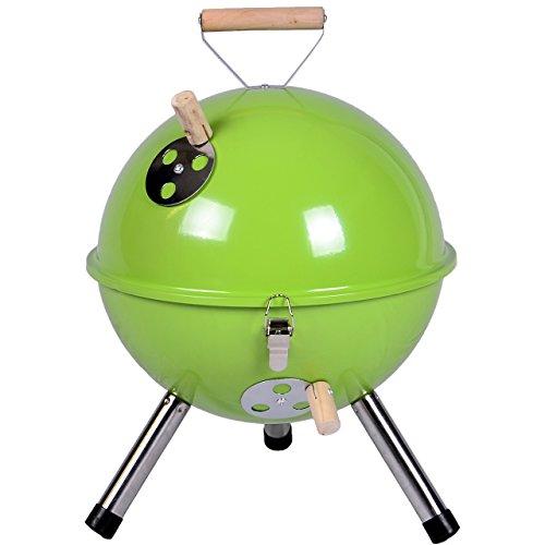 Nexos YG00263_G Mini Grill Kugelgrill Holzkohlegrill für Garten Terrasse Camping Festival Picknick BBQ Barbecue Ø 30 cm grün