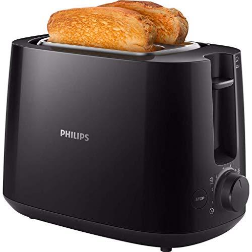 Philips HD2581/90 Toaster, integrierter Brötchenaufsatz, 8 Bräunungsstufen, schwarz