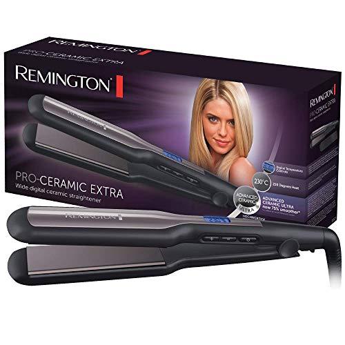 Remington Glätteisen breit Pro-Ceramic Extra (extra breite 45mm Stylingplatten -speziell für dickes, krauses, lockiges und sehr langes Haar) LCD-Display, 150-230°C, Haarglätter S5525