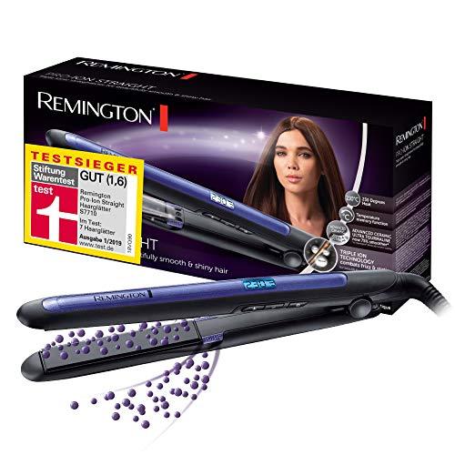 Remington Glätteisen Pro-Ion Testsieger (dreifache Ionen-Technologie & Ultra-Turmalin-Keramikbeschichtung sorgen für weniger Frizz und statische Aufladung) LCD-Display, 150-230°C, Haarglätter S7710