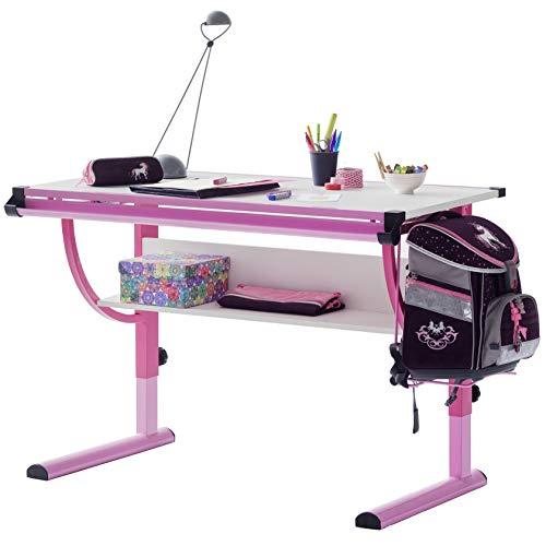 Robas Lund Schreibtisch für Kinder höhenverstellbar rosa, B/H/T: ca. 118 x 62 - 93 x 60 cm