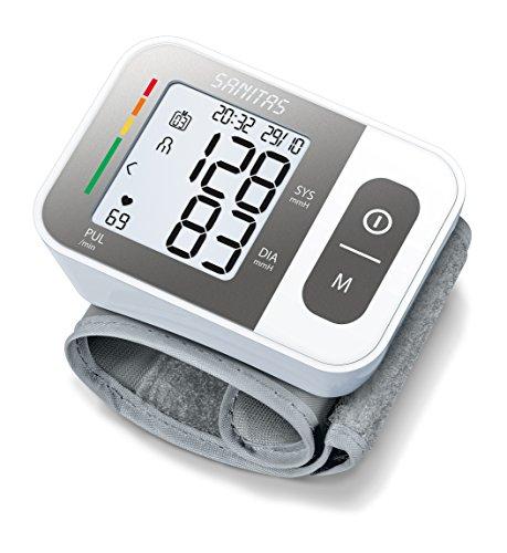 Sanitas SBC 15 Handgelenk-Blutdruckmessgerät, vollautomatische Blutdruck- und Pulsmessung, Warnfunktion bei möglichen Herzrhythmusstörungen