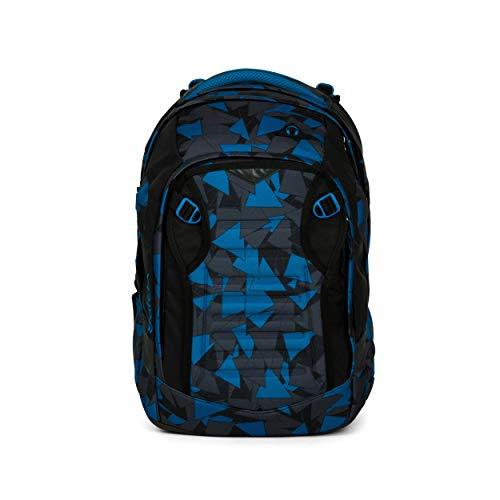 satch Match, Blue Triangle ergonomischer Schulrucksack, erweiterbar auf 35 Liter, extra Fronttasche