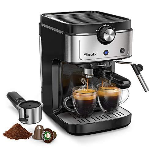 Sboly Espressomaschine, 2-in-1-Kaffeemaschine für Nespresso-kompatible Kapseln und gemahlenen Kaffee, 19-Bar Espressomaschine mit abnehmbarem Wassertank, Milchdampfdüse für Cappuccino und Latte