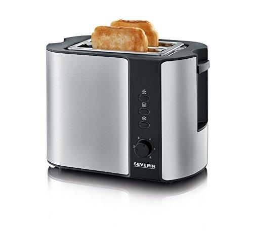 SEVERIN Automatik-Toaster, Inkl. Brötchen-Röstaufsatz, 2 Röstkammern, 800 W, AT 2589, Edelstahl/Schwarz