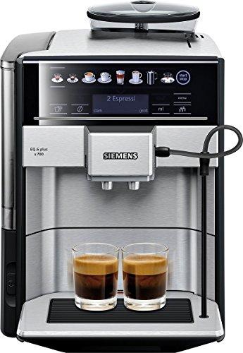 Siemens EQ.6 plus s700 Kaffeevollautomat TE657503DE, automatische Reinigung, Direktwahl, zwei Tassen gleichzeitig, 1.500 Watt, edelstahl
