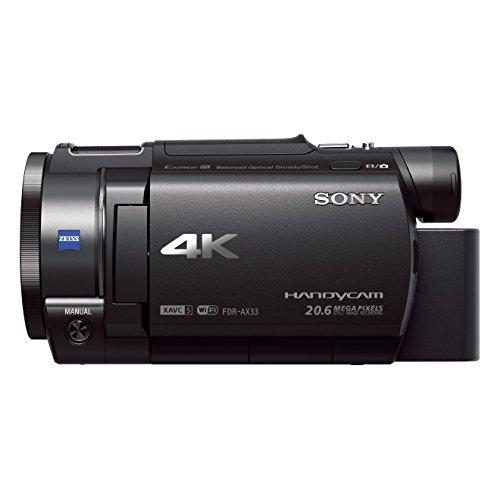 Sony FDR-AX33 4K Camcorder (Exmor R CMOS Sensor, 7,5 cm (3,0 Zoll) Touch Display, ISO Norm MI Zubehör Schuh) schwarz