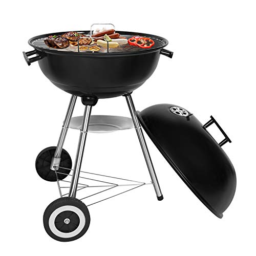 Sunjas Holzkohlegrill, Kugelgrill, Outdoor Reisegrill, BBQ Campinggrill, Party, Familienferien, Schwarz