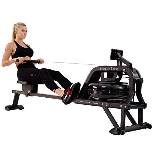 Sunny Health & Fitness Rudergerät mit Wasserwiderstand + LCD-Monitor, 113 kg max. Gewicht - Obsidian SF-RW5713, Ergometer, Trainingscomputer, Wasserrudergerät, kompatibel mit Pulsgurt.