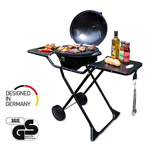 SUNTEC Elektrogrill BBQ-9295 auch als Tischgrill Geeignet   Grill mit Abnehmbarem Deckel und Regulierbaren Thermometer   Ideal für Balkon, Garten, Outdoor und Camping   Barbecue für mehrere Personen
