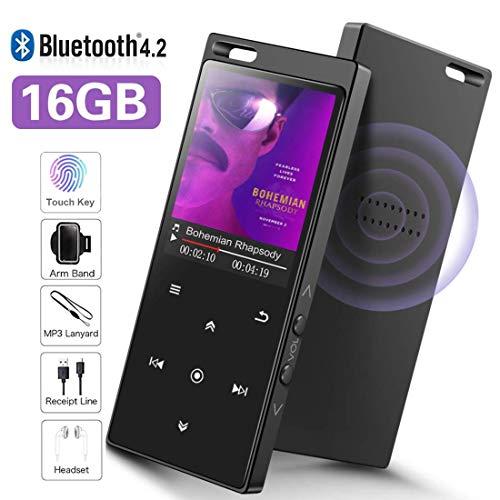 SuperEye 16GB Bluetooth 4.2 MP3 Player mit Lautsprecher,1.8 Zoll MP3 Player Sport mit FM Radio,Voice Recorder,Armband und Lanyard,Speicher Erweiterbar bis 64 GB