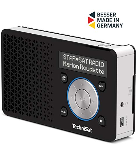 TechniSat DIGITRADIO 1 – tragbares DAB+ Radio mit Akku (DAB, UKW, Lautsprecher, Kopfhöreranschluss, Favoritenspeicher, OLED Display, klein, 1 Watt RMS) schwarz/silber