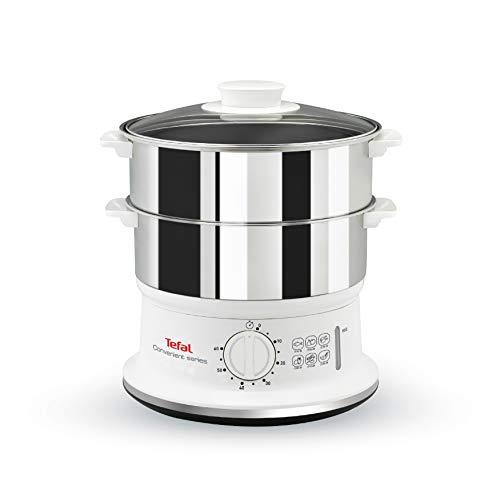 Tefal Dampfgarer VC1451 | 2 Edelstahlbehälter | 6L Fassungsvermögen | 24cm Durchmesser | Timer und automatische Abschaltung | 900W