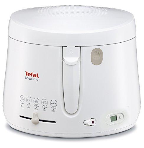 Tefal FF1001 Maxi Fry Fritteuse mit Timer (1.900 Watt, Kapazität 1,2 kg, Fritteuse mit Öl, wärmeisoliert, regelbare Temperatur, automatische Deckelöffnung, knusprige Pommes, leichte Reinigung) weiß