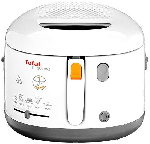 Tefal FF1631 Fritteuse Filtra One | 1.900 W | Kapazität 1,2 Kg | Clean-Oil-System | Auffangsieb für Frittierreste | Wärmeisoliert | Spülmaschinenfest | Weiß/ Anthrazit