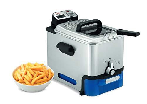 Tefal FR8040 Oleoclean Pro Inox & Design 3,5L Fritteuse (2.300 W, Kapazität 1,2 kg, herausnehmbarer Ölbehälter, automatische Öl/Fett Filterung, Timer, Thermostat, knusprige Pommes) edelstahl/schwarz