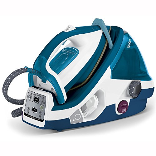 Tefal GV8963 Pro Express Dampfbügelstation (Variabler Dampf 0-120 g/min, Dampfstoß: 440 g/min, automatische Abschaltung, drei voreingestellte Bügelprogramme, 6,5 Bar) blau/weiß
