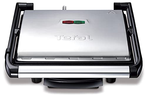 Tefal Kontaktgrill Inicio GC241D | Elektrogrill / Sandwichtoaster | Fettarmes Grillen | Panini, Toasts, Steak, Gemüse | Antihaftbeschichtete gerillte Grillplatten | Wenig Öl | 2000W