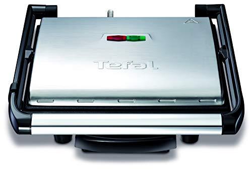 Tefal Kontaktgrill Inicio GC241D [Elektrogrill / Sandwichtoaster für Panini, Toasts, Steak, Sandwich und mehr; antihaftbeschichtete gerillte Grillplatten, 2000W; platzsparend], Standart