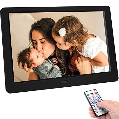 TENSWALL 10 Zoll Digitaler Bilderrahmen hochauflösendes Full-IPS-Display Foto/Musik/Video-Player Kalender Wecker automatischer EIN/aus Timer, unterstützt USB-und SD-Karte, Fernbedienung