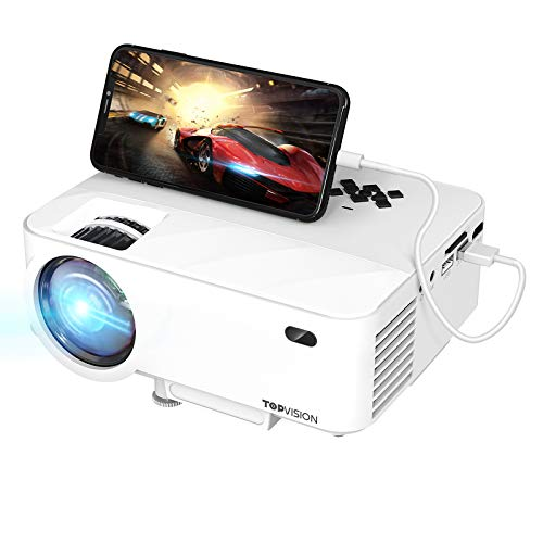 "TOPVISION Mini Beamer mit Screen Mirroring,4500 Lumen Heimkino Beamer Full HD 1080P Video Beamer mit 180"" Display, 60000 Stunden LED Beamer kompatibel mit HDMI/USB/SD/AV/VGA"