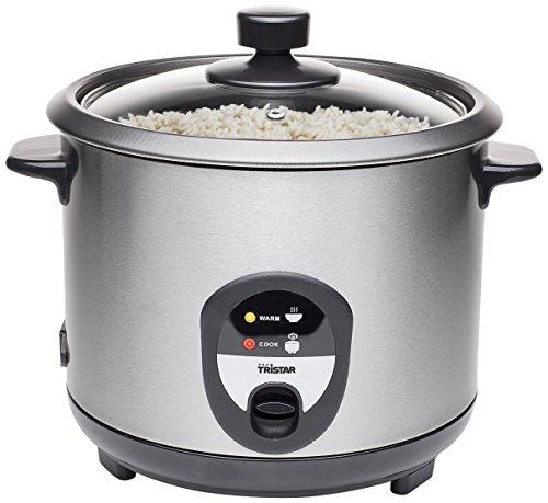 Tristar RK-6127 Reiskocher, 1,5L, Reis für bis zu 10 Personen ohne Anbrennen, Mit Warmhaltefunktion, 500W, Schwarz, Edelstahl