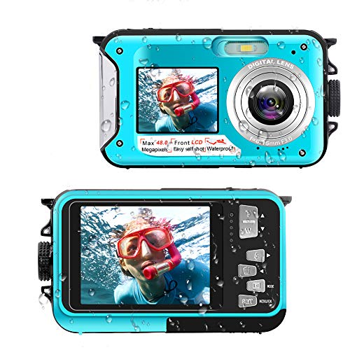Unterwasserkamera Full HD 2.7K 48 MP Unterwasser kameras Selfie Dual Screens 16X Digital Zoom Unterwasserkamera für Wanderungen oder Familienausflüge am Meer