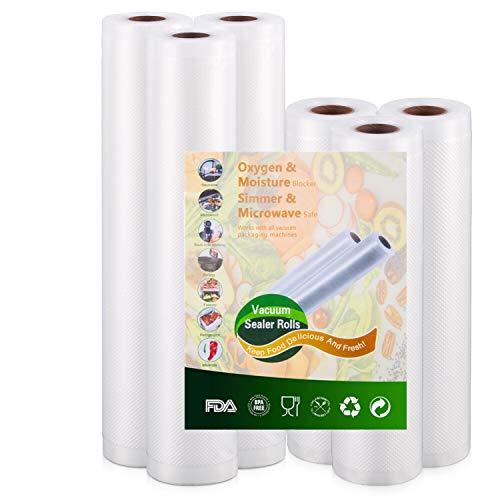 Vakuumrollen Folienrollen Vakuumbeutel für Vakuumierer Folienschweißgerät - 3 Rollen 20cm x 500cm und 3 Rollen 28cm x 500cm mit Lebensmittel Sous Vide BPA-frei und Kochfest