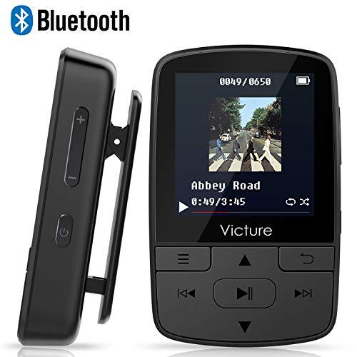 Victure Bluetooth MP3 Player 16GB Mini Sport Musik Player mit Clip, 30 Stunden Wiedergabe Musikplayer mit FM Radio, Unterstützt bis 128 GB SD Karte