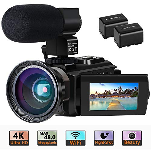 "Videokamera 4K Camcorder Ultra HD Wi-Fi Digitalkamera 48MP IR-Nachtsicht 16X Digitalzoom Recorder 3,0""IPS Touchscreen Vlog-Kamera für YouTube mit Mikrofon, Weitwinkelobjektiv, 2 Batterien"