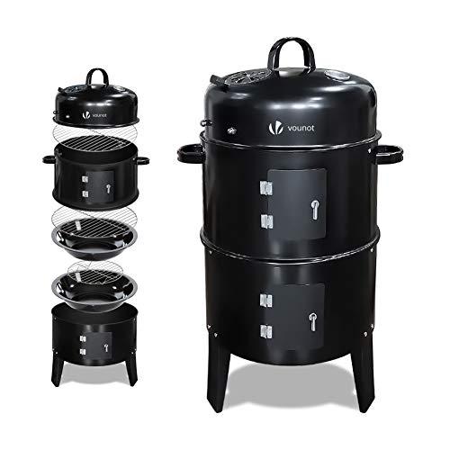 VOUNOT BBQ Räucherofen 3in1 Holzkohlegrill Smoker Räuchertonne mit Thermometer, Barbecue Räuchergrill für kalt und heiß räuchern, Schwarz
