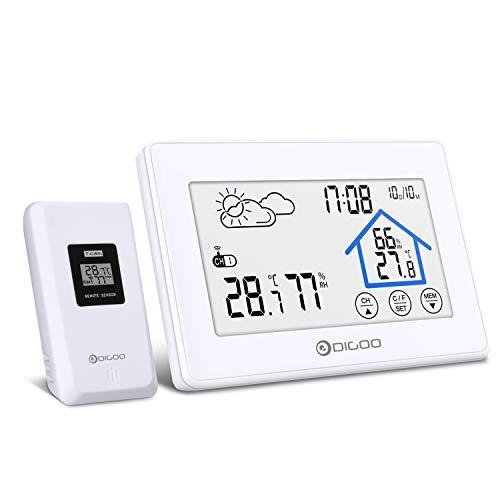 Wetterstation, DIGOO DG-TH8380 Wetterstation mit Funk, Wetterstation Farbdisplay mit Touchscreen, Innen- und Außenthermometer Hygrometer, 3 Senderkanäle, weiß