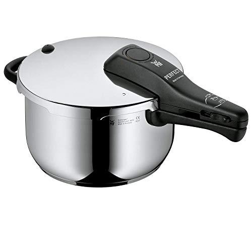 WMF Perfect Schnellkochtopf Induktion, Dampfkochtopf 4,5l, Cromargan Edelstahl poliert, 2 Kochstufen, Einhand-Kochstufenregler