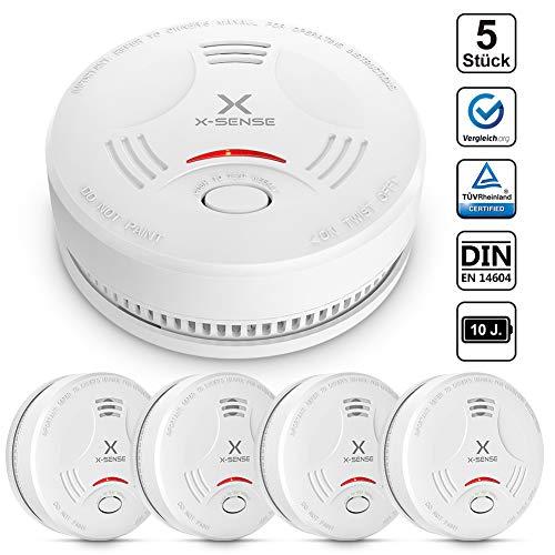 X-Sense Rauchmelder SD11| TÜV und DIN EN 14604 geprüfter Rauchwarnmelder mit 10 Jahren Batterielaufzeit, Feuermelder mit fotoelektrischem Sensor | Verbesserte Ausführung, 5 Stück