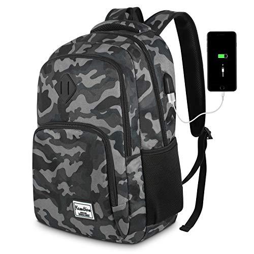 YAMTION Herren Rucksack,Schulrucksack Jungen Teenager mit mit USB-Ladeanschluss für Reisen Camping Schule Arbeit Büro