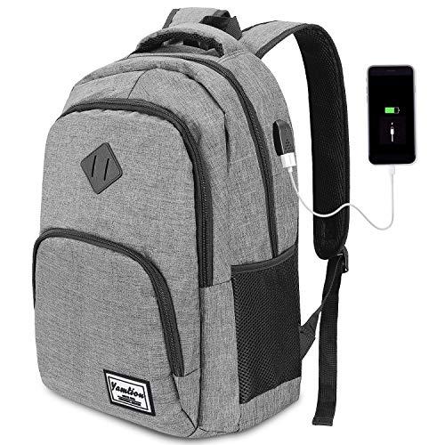YAMTION Laptop Rucksack Business Rucksack für 15.6 Zoll Laptop Schulrucksack mit USB Ladeanschluss für Arbeit Wandern Reisen Camping,für Herren,Oxford,20-35L